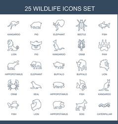 25 wildlife icons vector