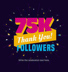75k followers card banner post template for vector