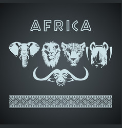 african big five animals and pattern vector image
