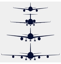 Airplanes silhouette front view vector