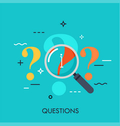 Answer finding and research concept vector