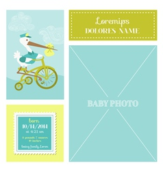 baarrival card - with stork and photo frame vector image