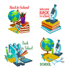 Back to school icon with education supplies vector