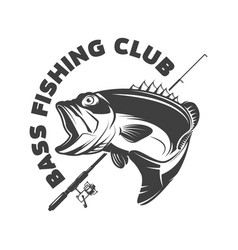 Bass fishing club emblem template with perch and vector