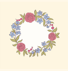 beautiful greeting card floral wreath vector image