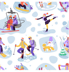 beautiful seamless pattern with ski vector image