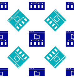 Blue browser files icon isolated seamless pattern vector