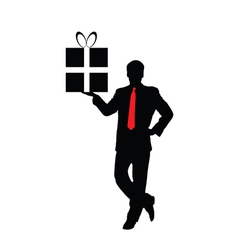 businessman with a gift vector image