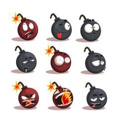 Cartoon bomb emotions set vector
