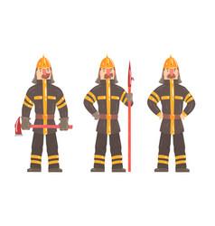 Cartoon firefighter character posing in working vector