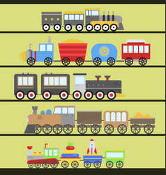 cartoon toy train railroad and cartoon vector image
