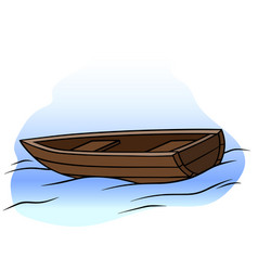 Cartoon wooden rowboat on water vector