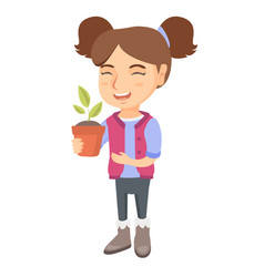 caucasian smiling girl holding a potted plant vector image