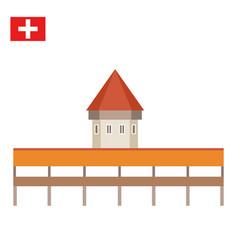 chapel bridge in lucerne switzerland vector image