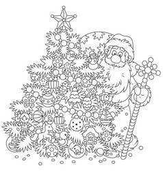 christmas tree and santa claus with gifts vector image