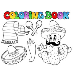 Coloring book with mexican theme 2 vector