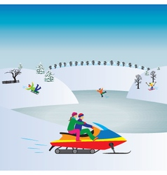 Couple on a Snowmobile Winter Christmas vacation vector image