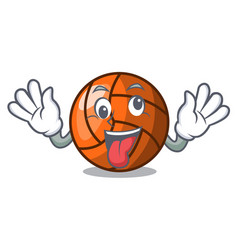 Crazy volleyball mascot cartoon style vector