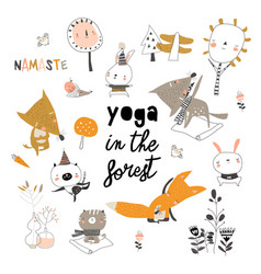 Cute cartoon animals doing yoga exercises vector