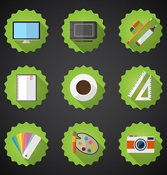 Designers stuff Flat icon set include Desktop vector image