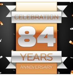 Eighty four years anniversary celebration golden vector