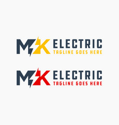 electrical industry logo with letter mk vector image