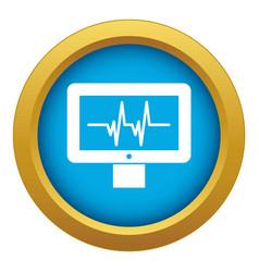 Electrocardiogram monitor icon blue vector