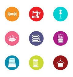 embroidery icons set flat style vector image
