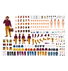 Fat or stout man constructor set or diy kit vector