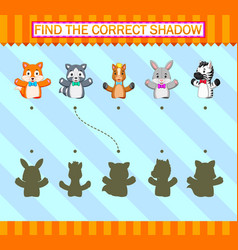 Find correct shadow different hand puppet vector