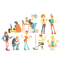 Flat set of cartoon creative people vector