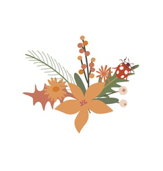 Floral design with ladybug vector image vector image