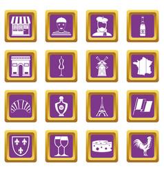 France travel icons set purple vector