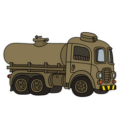 Funny retro military tank truck vector