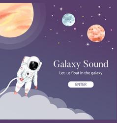 Galaxy social media design with astronaut planet vector