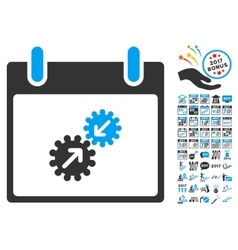Gears Integration Calendar Day Flat Icon vector