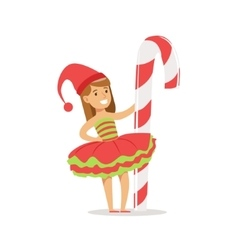 Girl With Giant Candy Cane Stick Dressed As Santa vector image