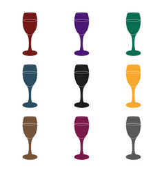 glass of white wine icon in black style isolated vector image