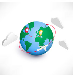 Global logistics isometric icon vector
