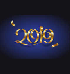 golden ribbon inscription happy new year 2019 vector image
