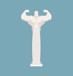 greek column athlete strong architectural element vector image