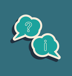 Green speech bubbles with question and exclamation vector