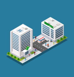 hospital isometric 3d building vector image