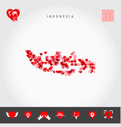 I love indonesia red hearts pattern map vector