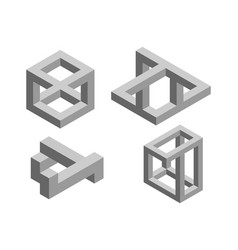 Impossible object set no7 isolated on white vector