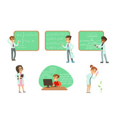 kid scientists set boys and girls in lab coats vector image