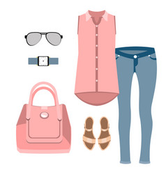 Lady fashion set vector