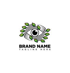 Leaf eye logo design template vector