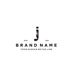 Letter j palm logo design concept vector