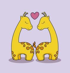 love card with cute giraffe vector image